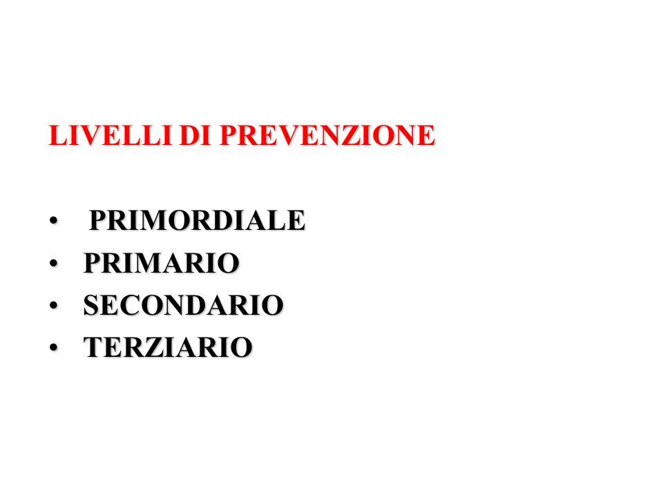LIVELLI DI PREVENZIONE PRIMORDIALE PRIMARIO SECONDARIO TERZIARIO