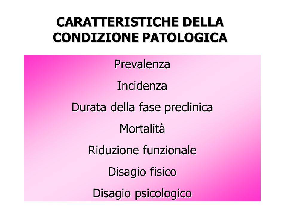 CARATTERISTICHE DELLA CONDIZIONE PATOLOGICA