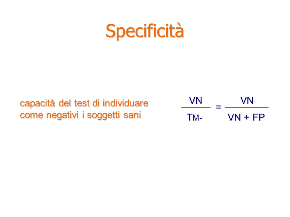 Specificità VN TM- VN + FP =