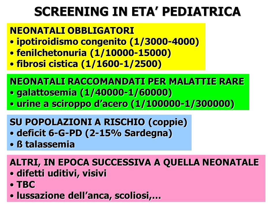 SCREENING IN ETA' PEDIATRICA