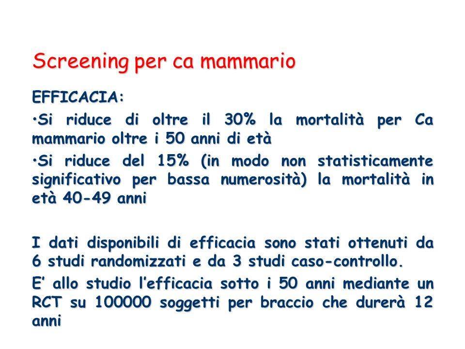 Screening per ca mammario