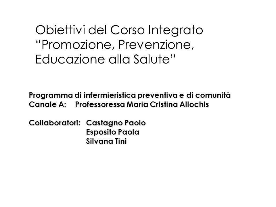 Obiettivi del Corso Integrato Promozione, Prevenzione, Educazione alla Salute