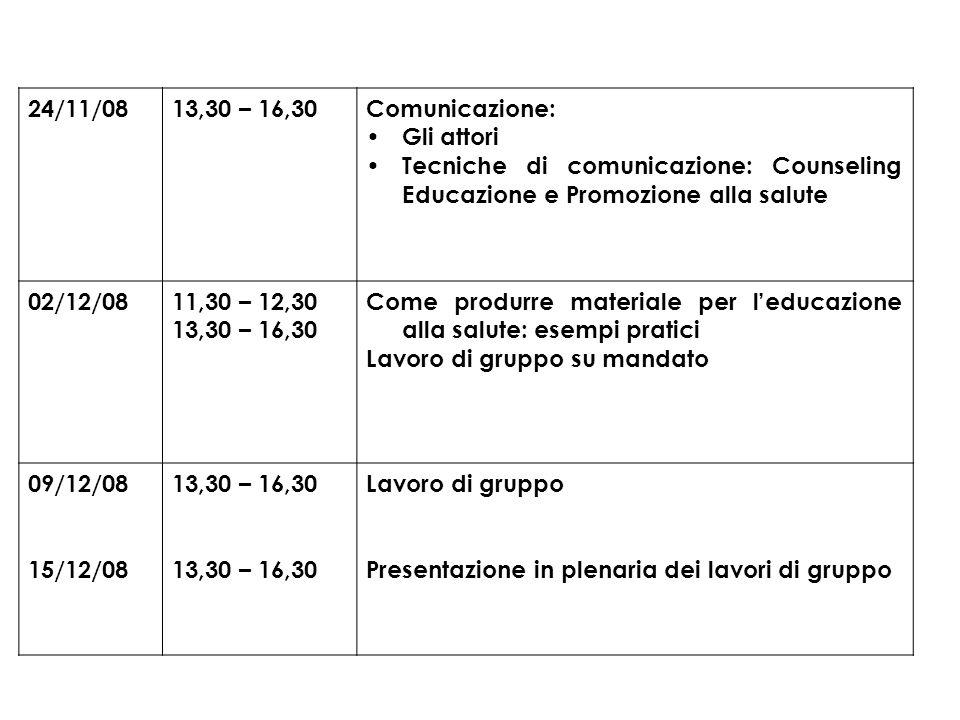 24/11/08 13,30 – 16,30. Comunicazione: Gli attori. Tecniche di comunicazione: Counseling Educazione e Promozione alla salute.