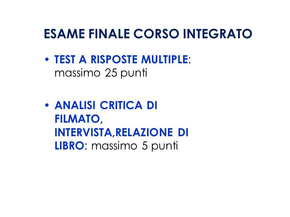 ESAME FINALE CORSO INTEGRATO
