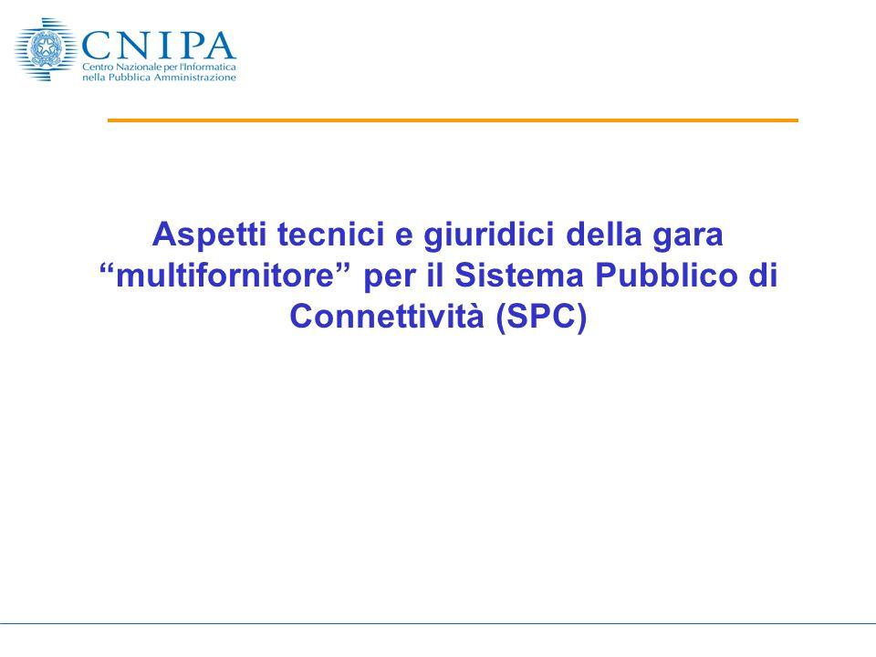Aspetti tecnici e giuridici della gara multifornitore per il Sistema Pubblico di Connettività (SPC)