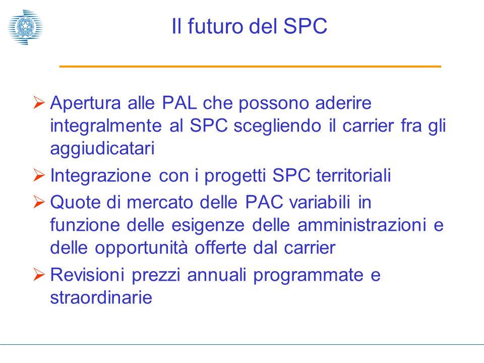 Il futuro del SPC Apertura alle PAL che possono aderire integralmente al SPC scegliendo il carrier fra gli aggiudicatari.