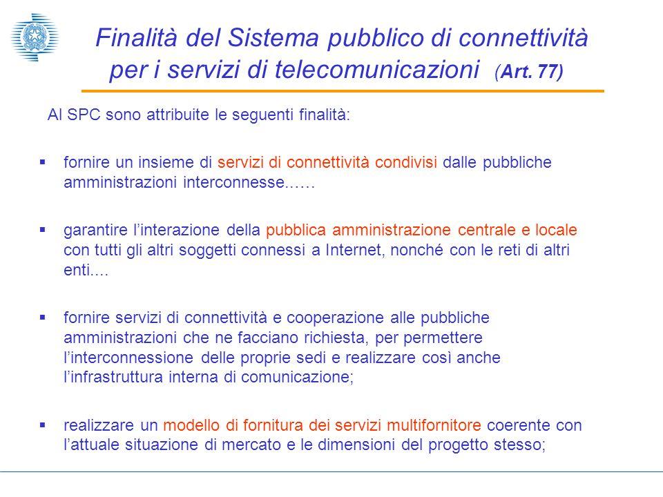 Finalità del Sistema pubblico di connettività per i servizi di telecomunicazioni (Art. 77)