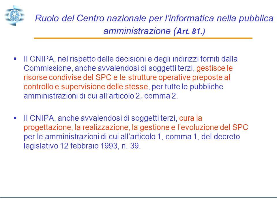 Ruolo del Centro nazionale per l'informatica nella pubblica amministrazione (Art. 81.)