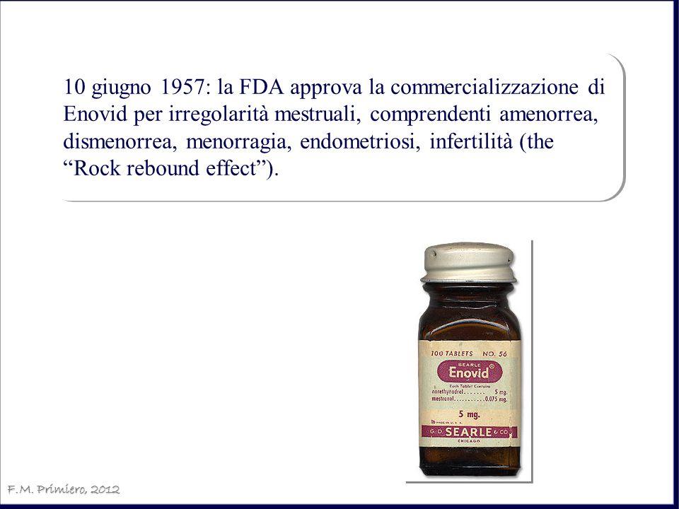 10 giugno 1957: la FDA approva la commercializzazione di Enovid per irregolarità mestruali, comprendenti amenorrea, dismenorrea, menorragia, endometriosi, infertilità (the Rock rebound effect ).