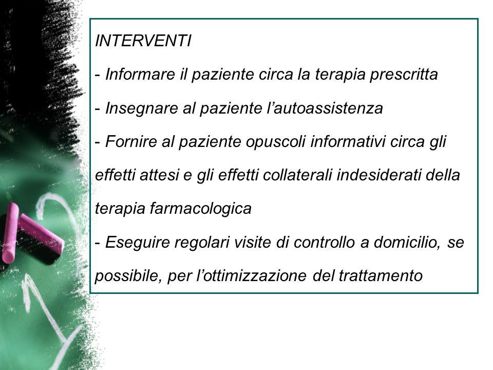 INTERVENTIInformare il paziente circa la terapia prescritta. Insegnare al paziente l'autoassistenza.