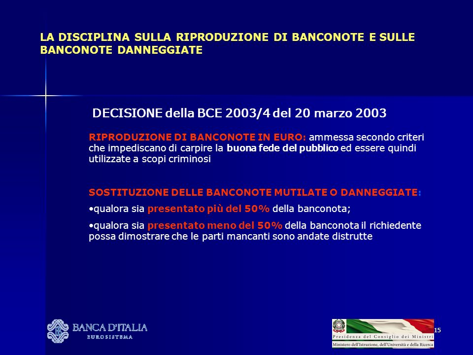 DECISIONE della BCE 2003/4 del 20 marzo 2003