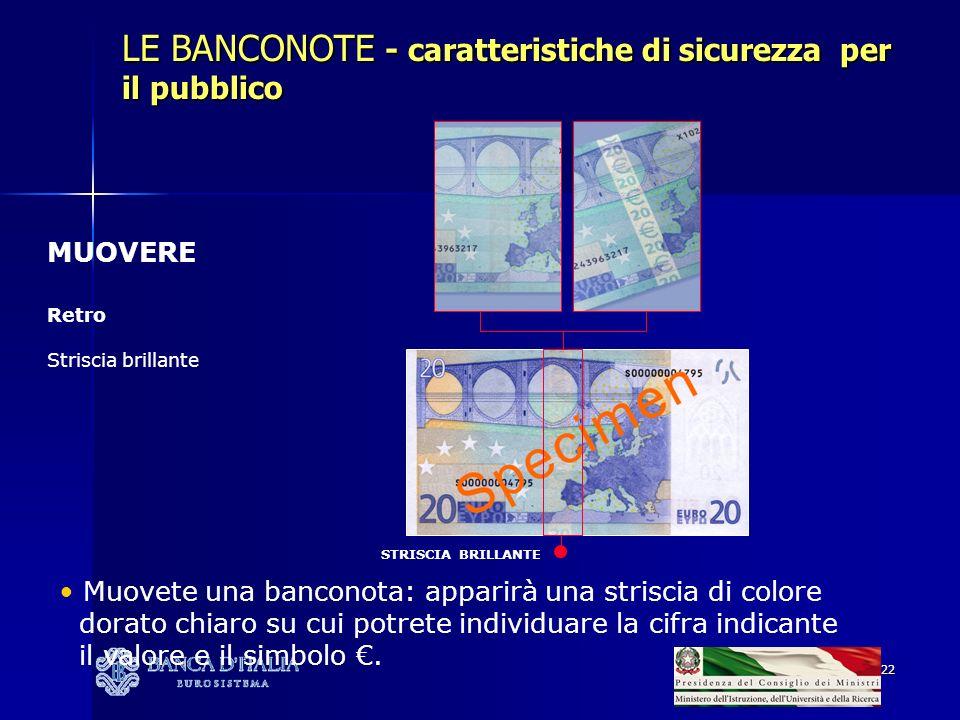 LE BANCONOTE - caratteristiche di sicurezza per il pubblico
