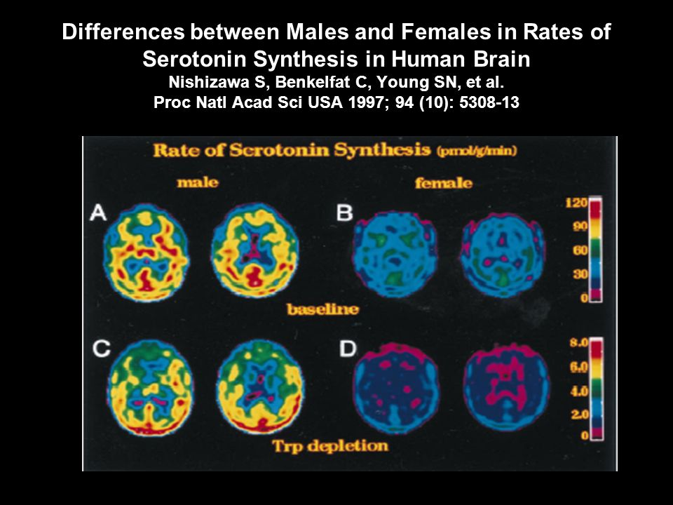Differences between Males and Females in Rates of Serotonin Synthesis in Human Brain Nishizawa S, Benkelfat C, Young SN, et al.
