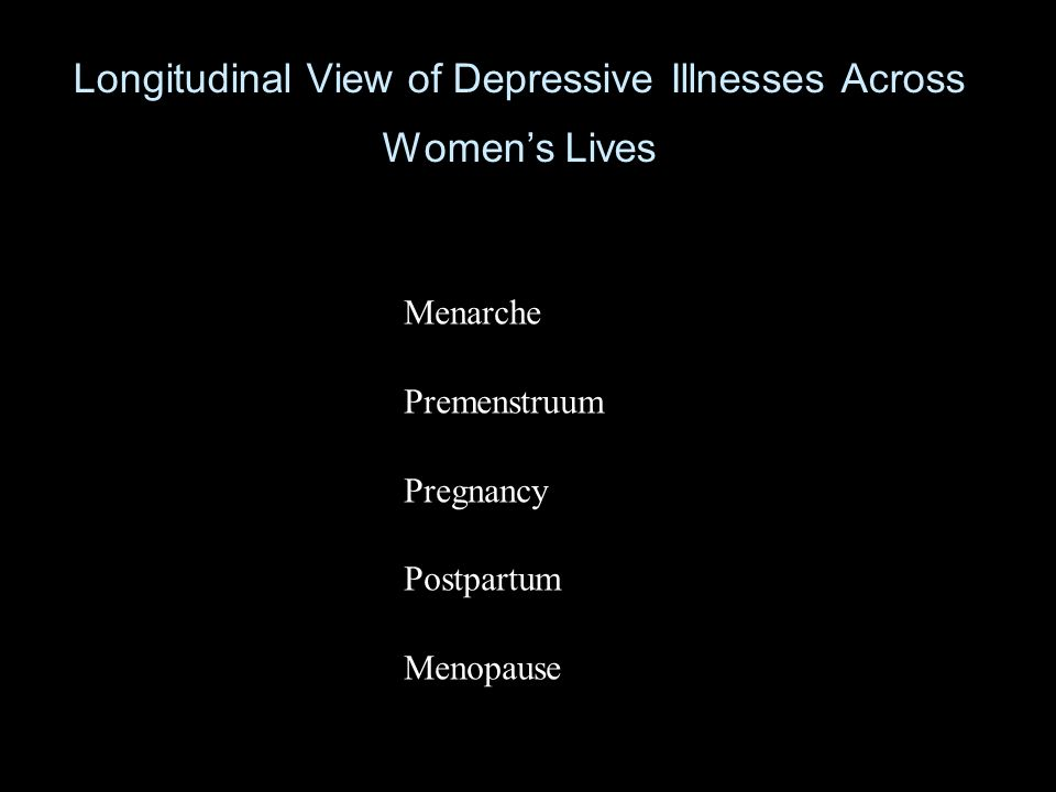 Longitudinal View of Depressive Illnesses Across Women's Lives