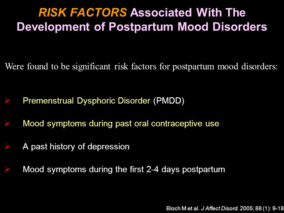RISK FACTORS Associated With The Development of Postpartum Mood Disorders