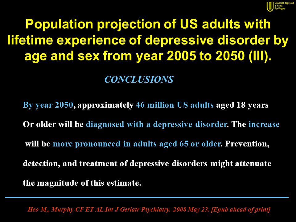 Population projection of US adults with lifetime experience of depressive disorder by age and sex from year 2005 to 2050 (III).