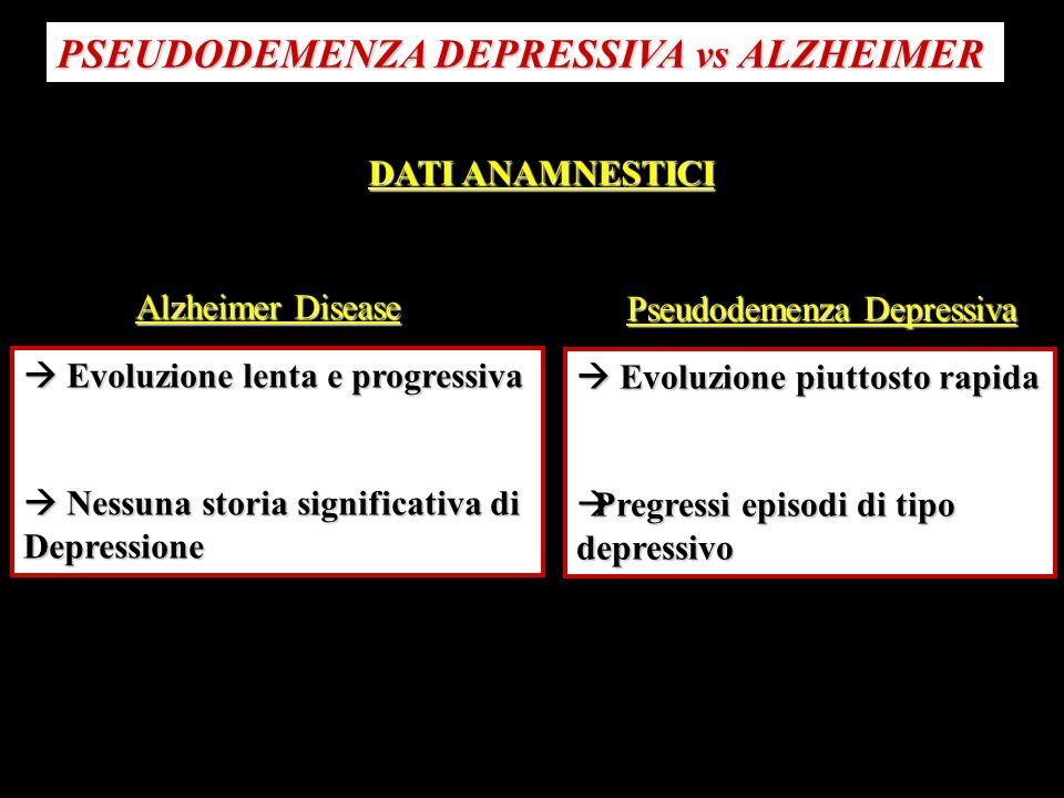 PSEUDODEMENZA DEPRESSIVA vs ALZHEIMER