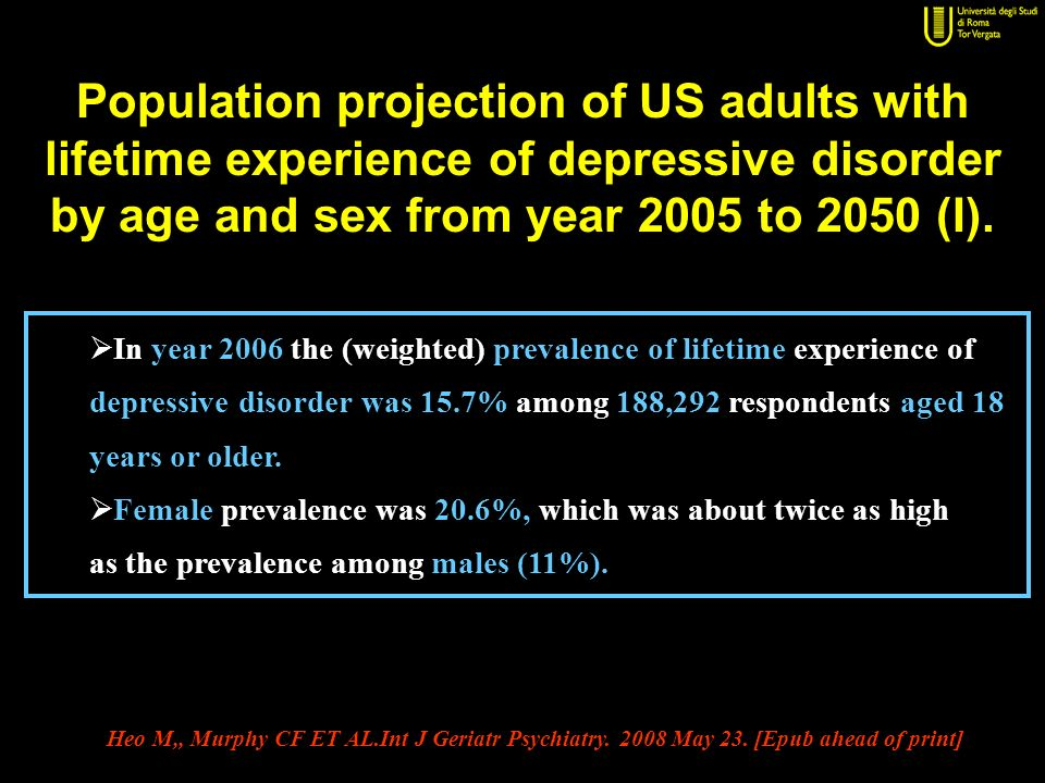 Population projection of US adults with lifetime experience of depressive disorder by age and sex from year 2005 to 2050 (I).