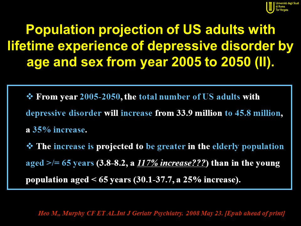 Population projection of US adults with lifetime experience of depressive disorder by age and sex from year 2005 to 2050 (II).