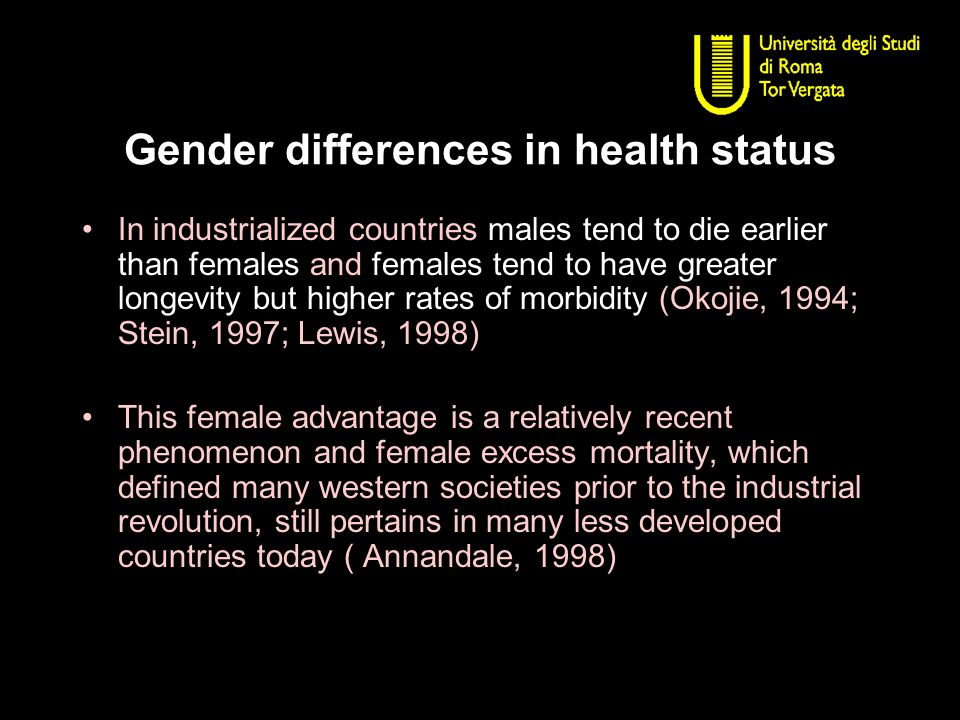 Gender differences in health status