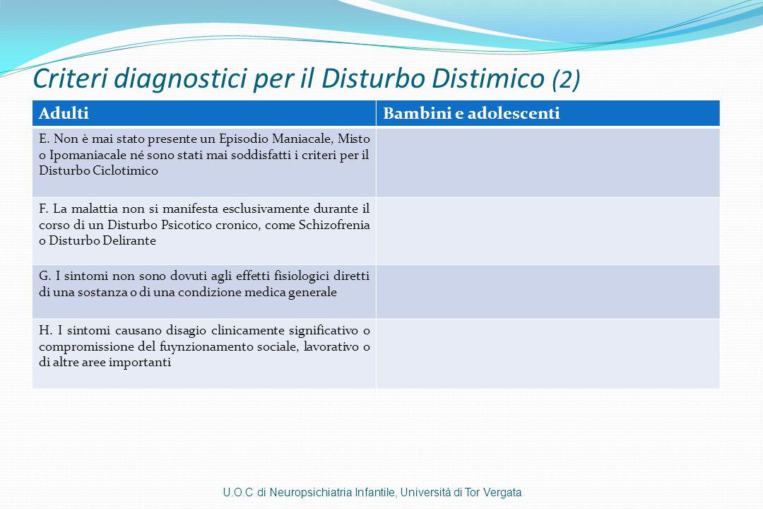 Criteri diagnostici per il Disturbo Distimico (2)