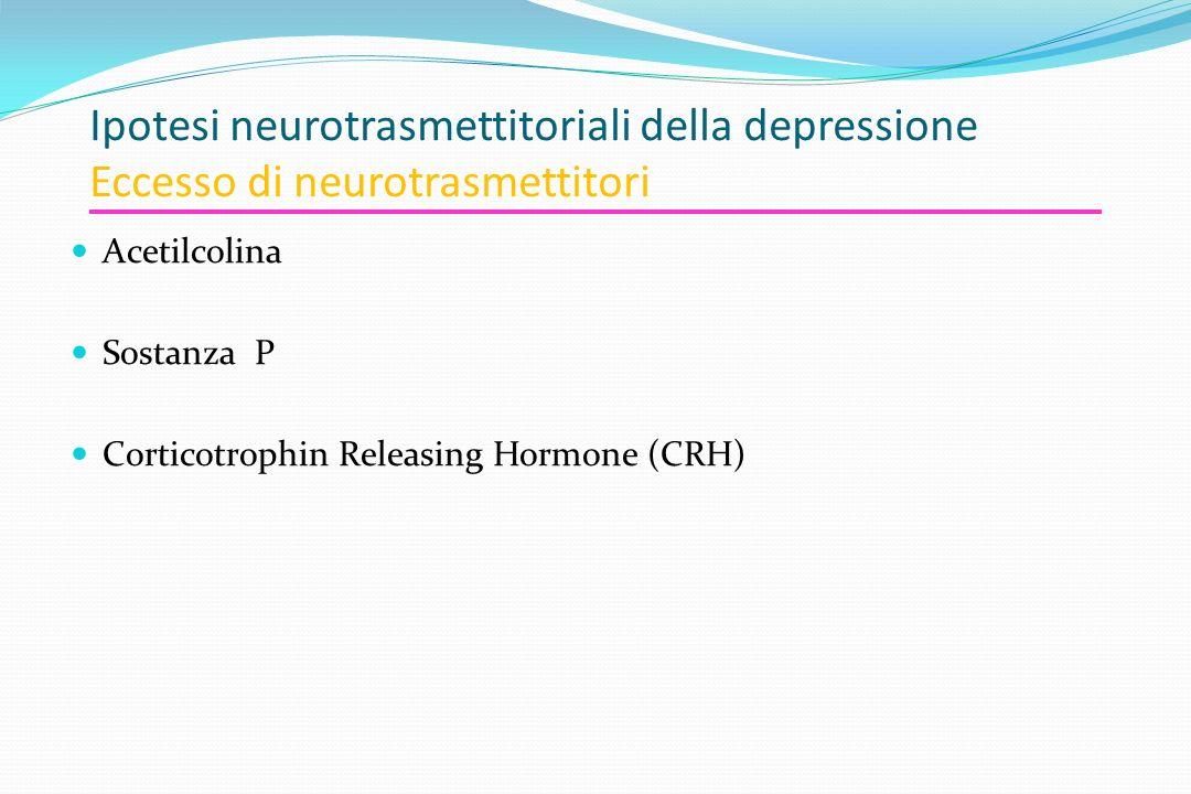 Ipotesi neurotrasmettitoriali della depressione Eccesso di neurotrasmettitori