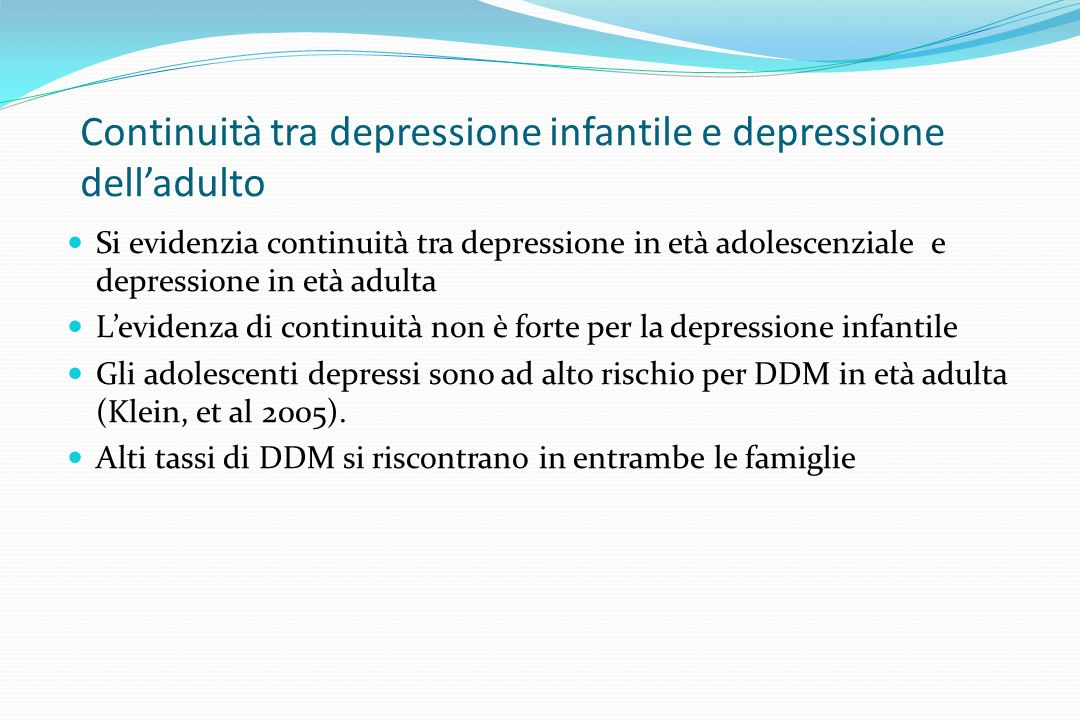 Continuità tra depressione infantile e depressione dell'adulto