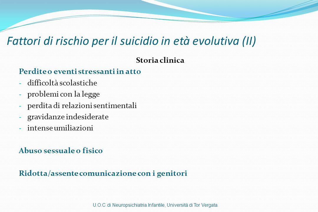 Fattori di rischio per il suicidio in età evolutiva (II)