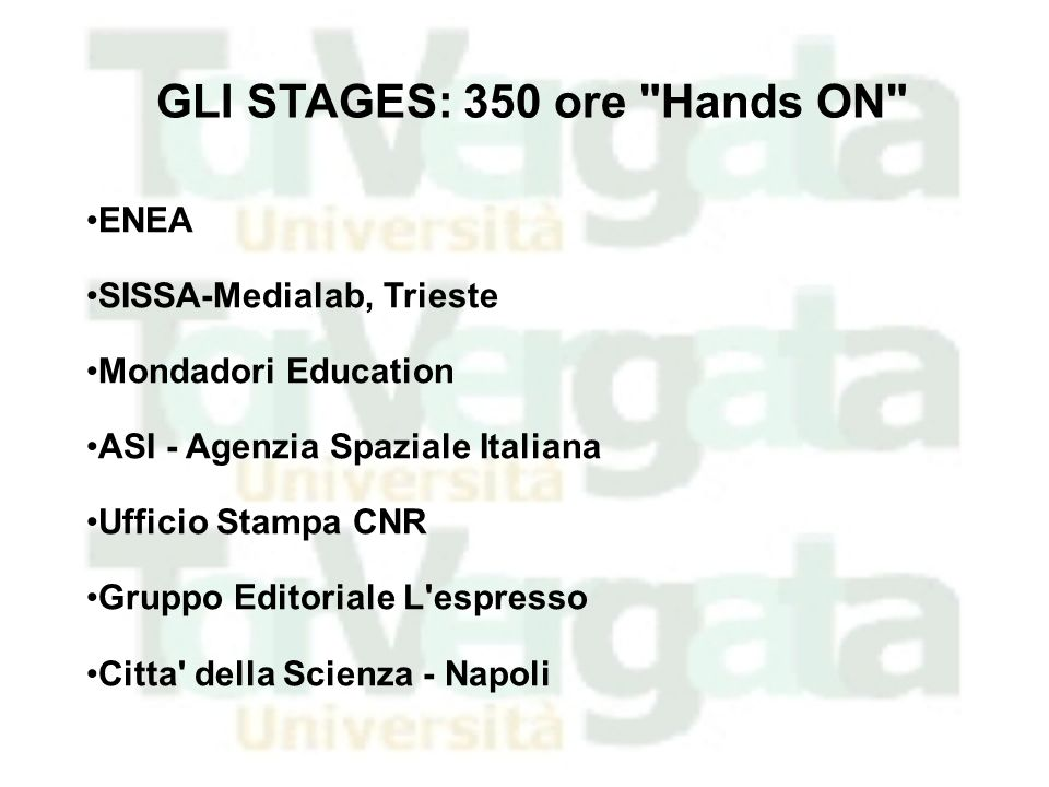 GLI STAGES: 350 ore Hands ON