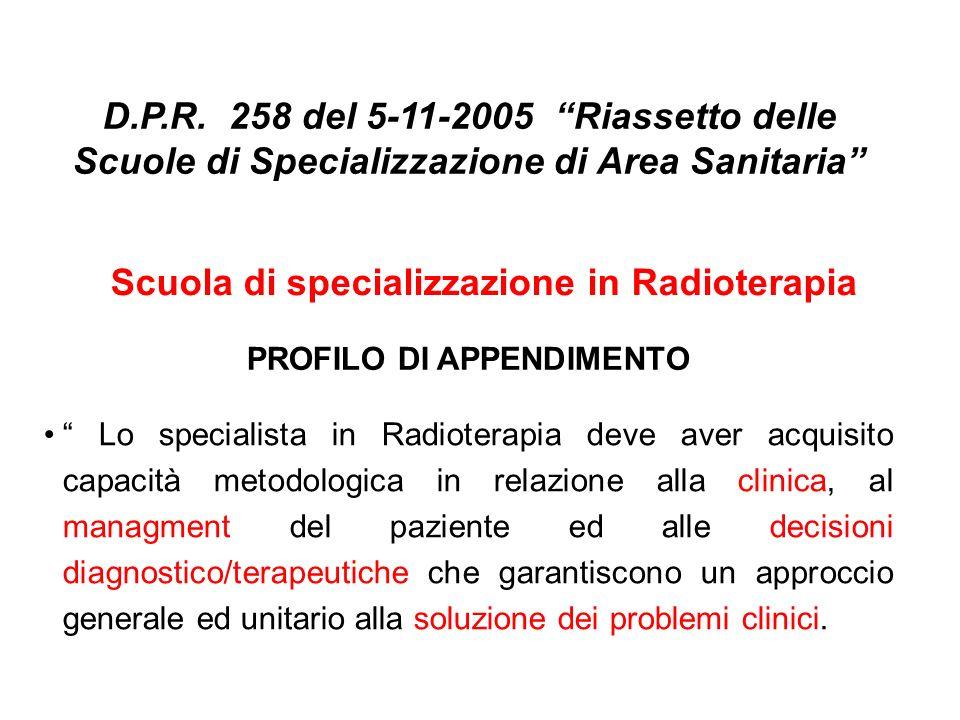 Scuola di specializzazione in Radioterapia PROFILO DI APPENDIMENTO