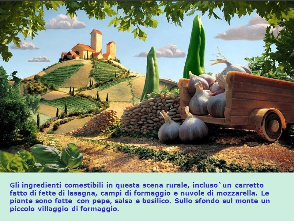 Gli ingredienti comestibili in questa scena rurale, incluso`un carretto fatto di fette di lasagna, campi di formaggio e nuvole di mozzarella.