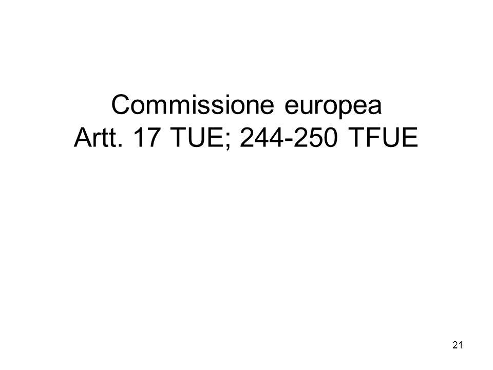 Commissione europea Artt. 17 TUE; 244-250 TFUE