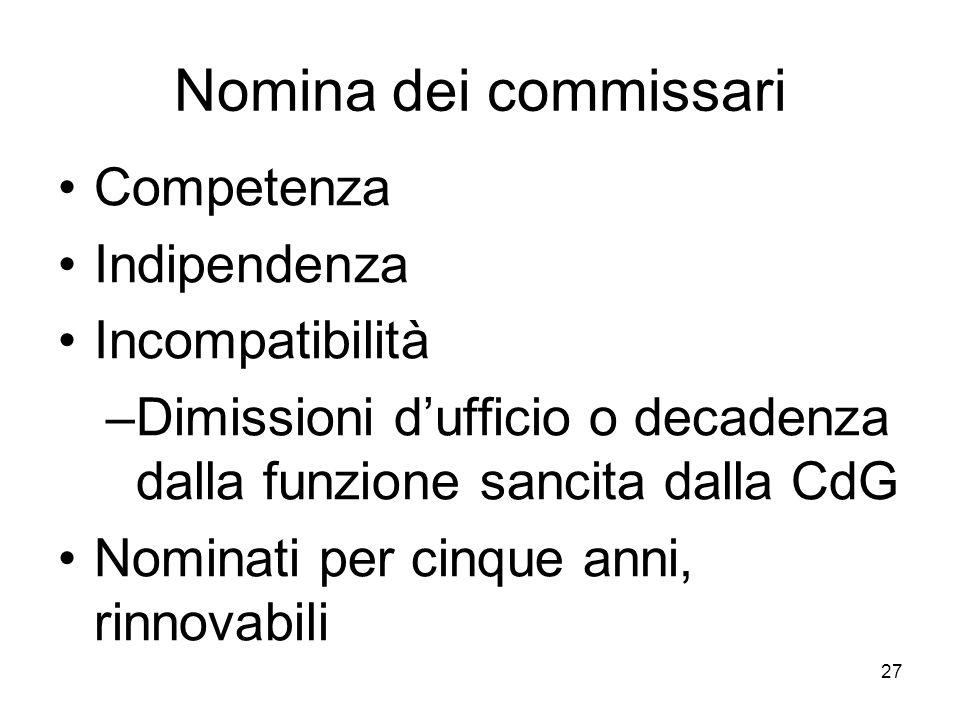 Nomina dei commissari Competenza Indipendenza Incompatibilità