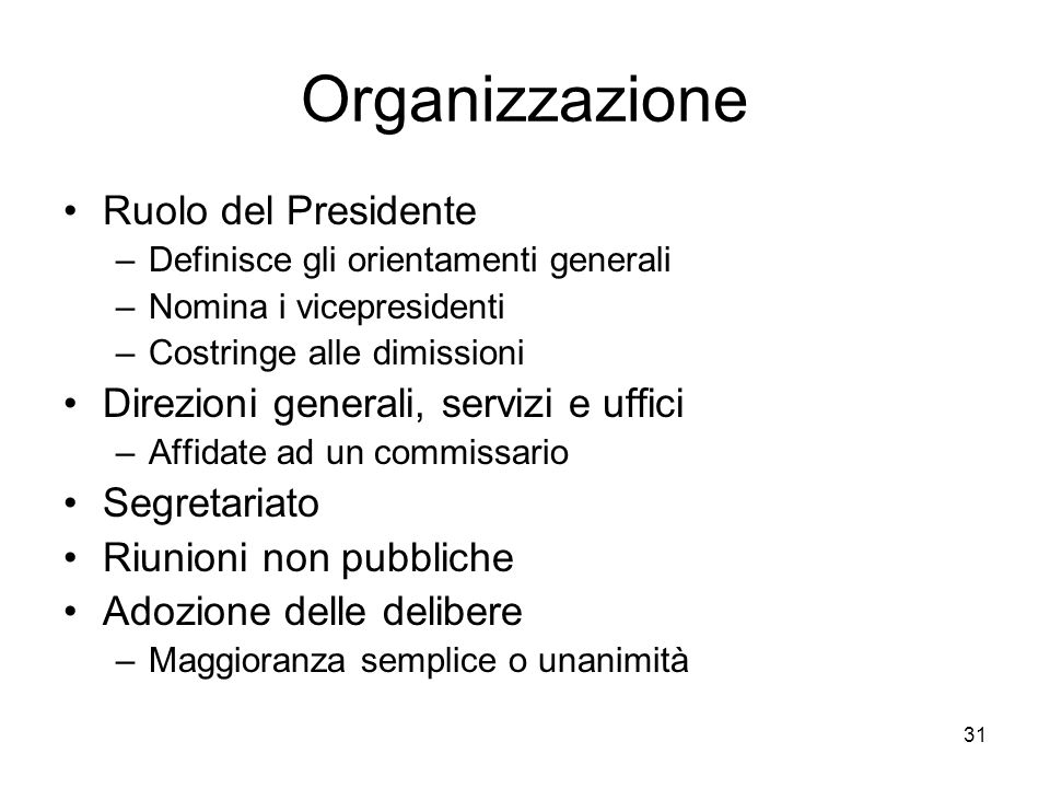 Organizzazione Ruolo del Presidente