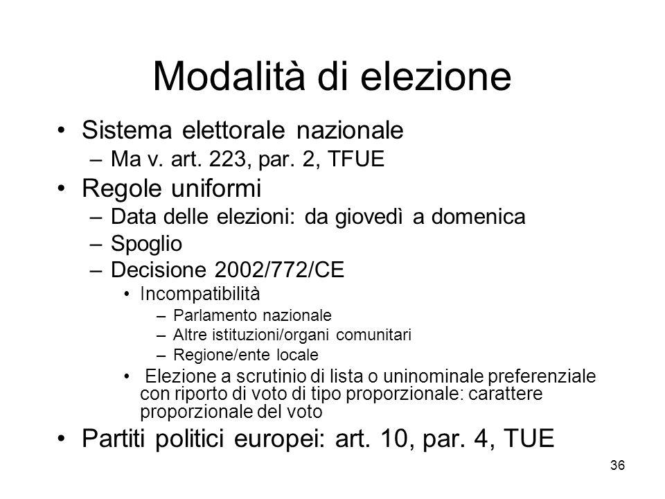 Modalità di elezione Sistema elettorale nazionale Regole uniformi