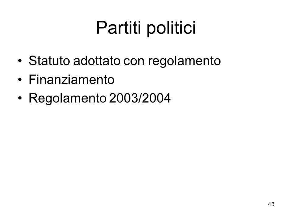 Partiti politici Statuto adottato con regolamento Finanziamento