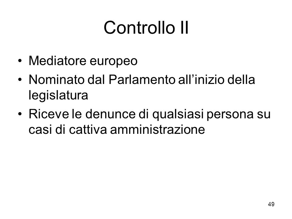 Controllo II Mediatore europeo