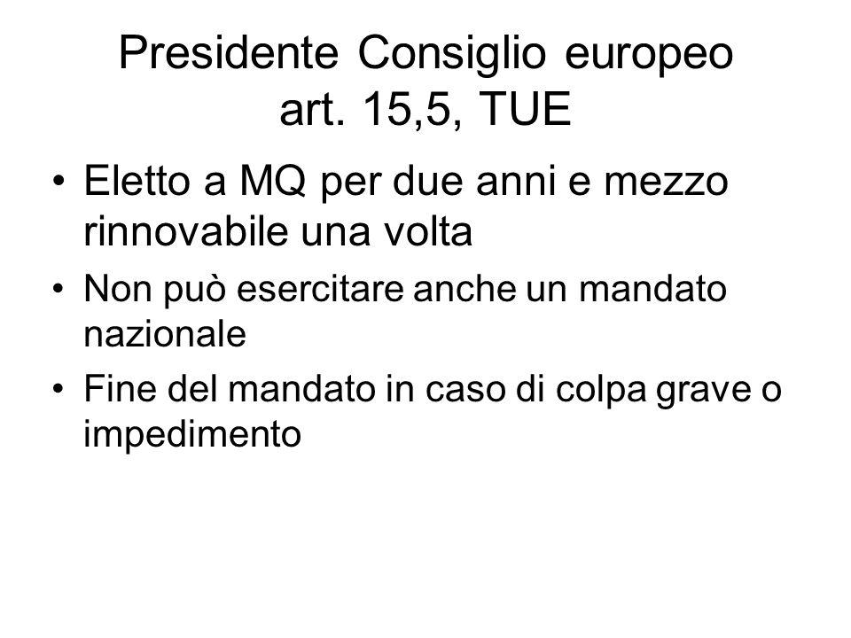 Presidente Consiglio europeo art. 15,5, TUE