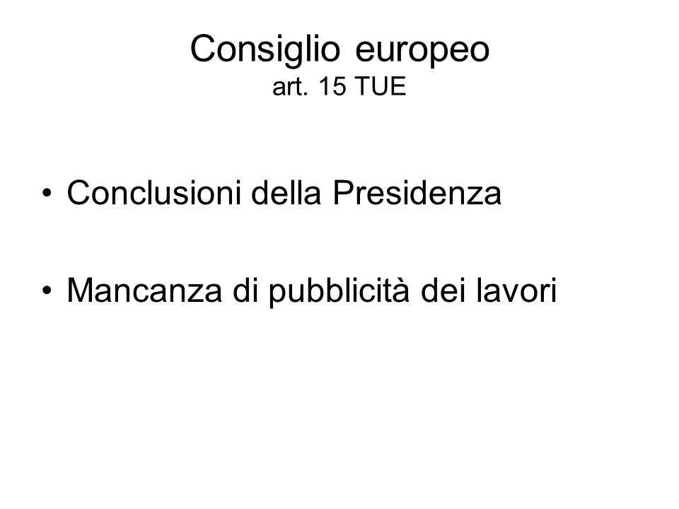 Consiglio europeo art. 15 TUE