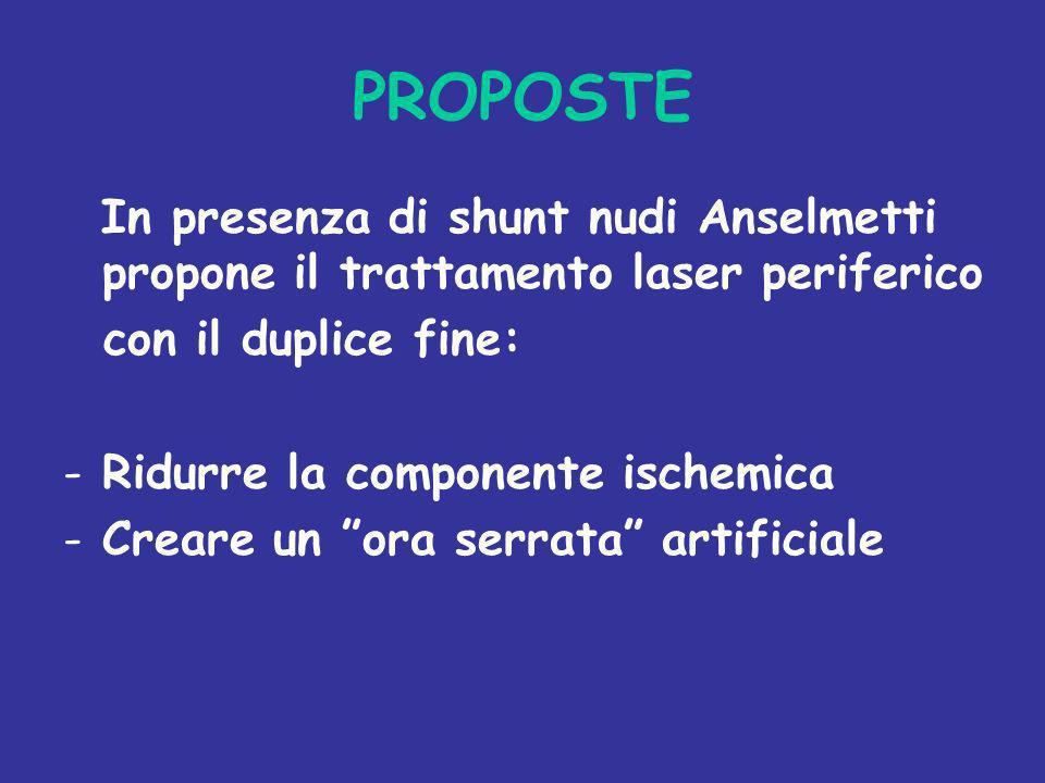PROPOSTE In presenza di shunt nudi Anselmetti propone il trattamento laser periferico. con il duplice fine: