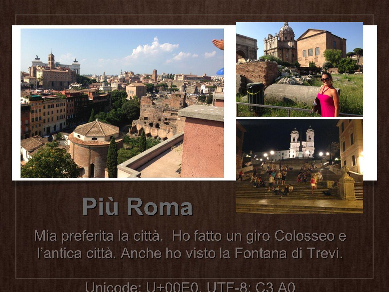 Più Roma Mia preferita la città. Ho fatto un giro Colosseo e l'antica città. Anche ho visto la Fontana di Trevi.