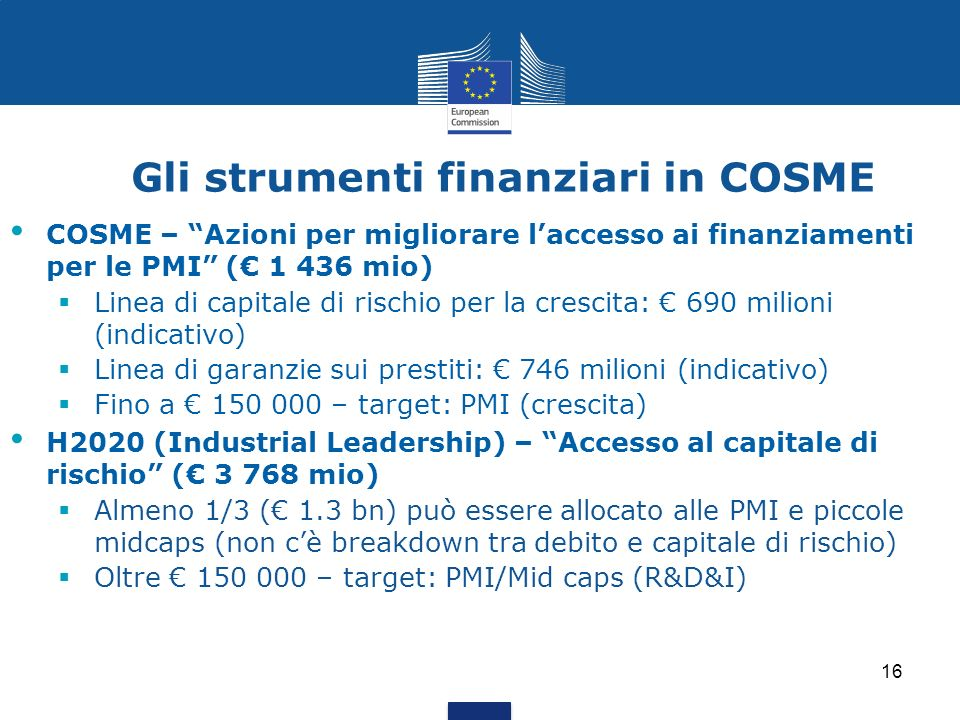 Gli strumenti finanziari in COSME