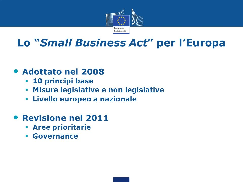 Lo Small Business Act per l'Europa