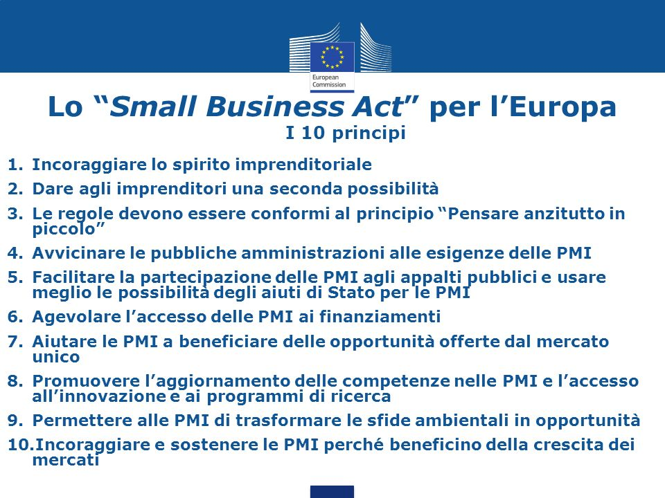 Lo Small Business Act per l'Europa I 10 principi