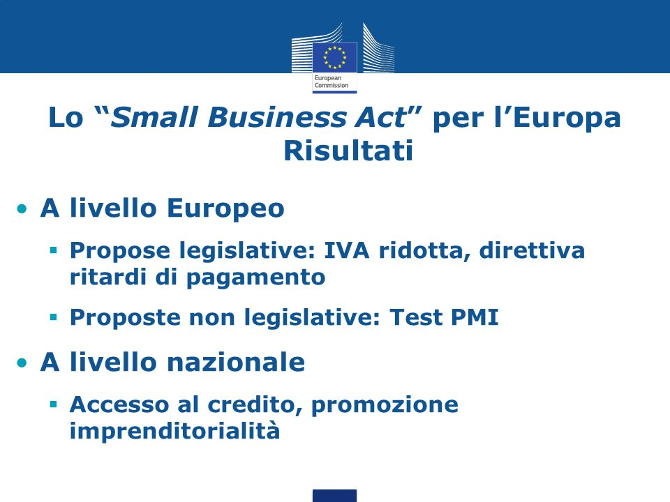 Lo Small Business Act per l'Europa Risultati