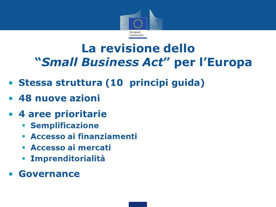 La revisione dello Small Business Act per l'Europa