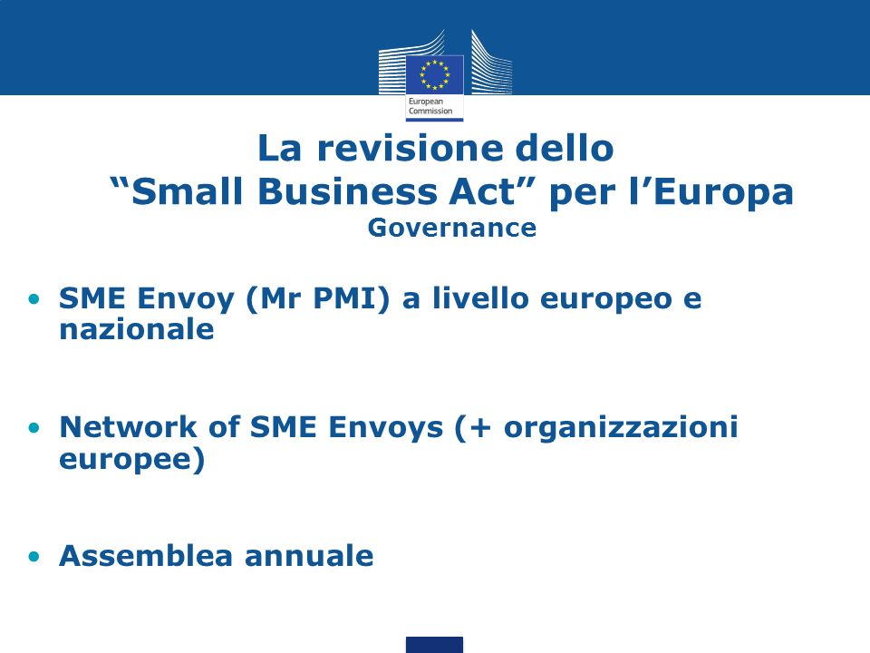 La revisione dello Small Business Act per l'Europa Governance