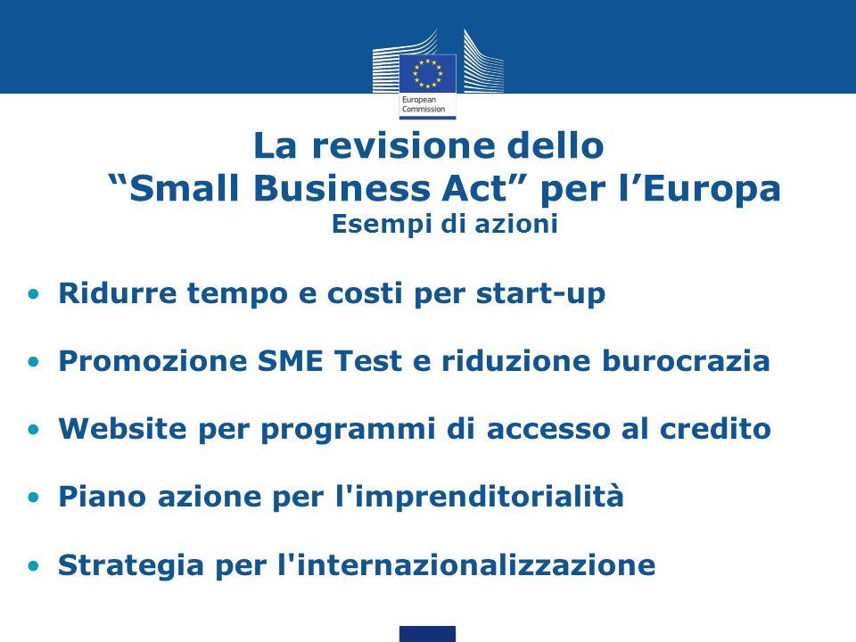 La revisione dello Small Business Act per l'Europa Esempi di azioni