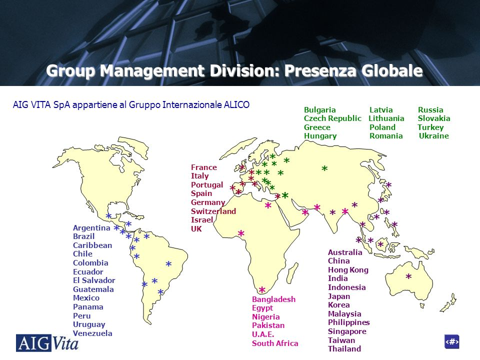Group Management Division: Presenza Globale