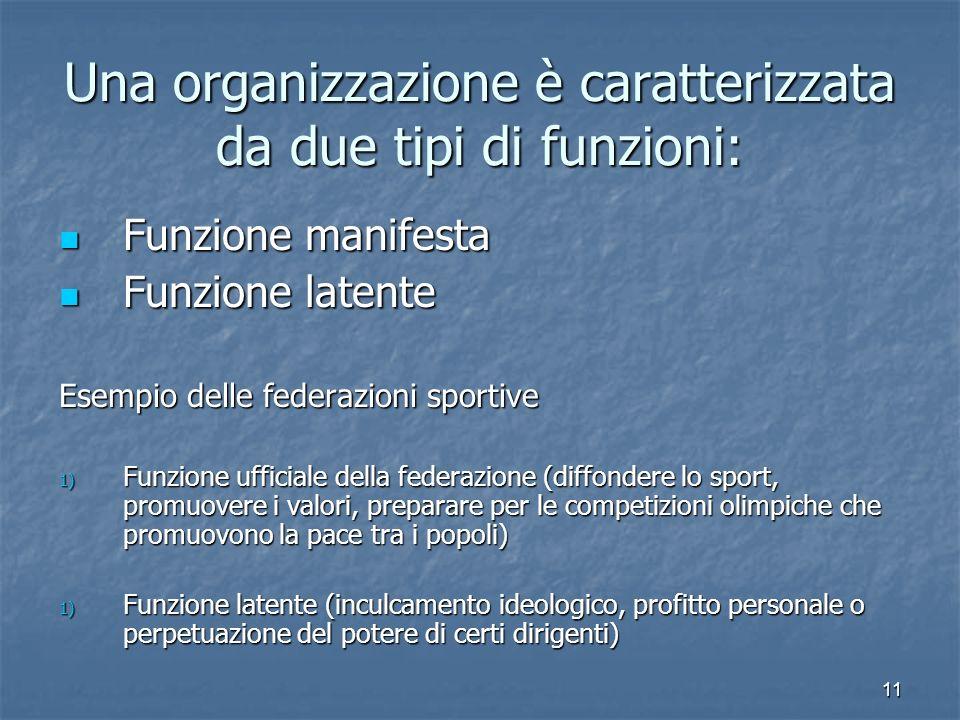 Una organizzazione è caratterizzata da due tipi di funzioni: